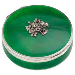 Early 20th Century Continental Silver Gilt and Green Guilloche Enamel Box