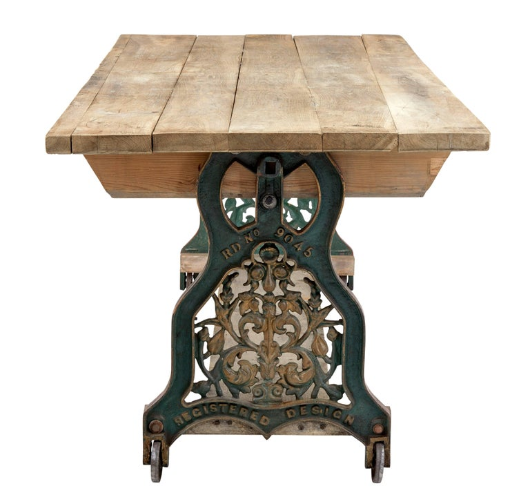 Industrial Early 20th Century Converted Cast Iron Work Table For Sale
