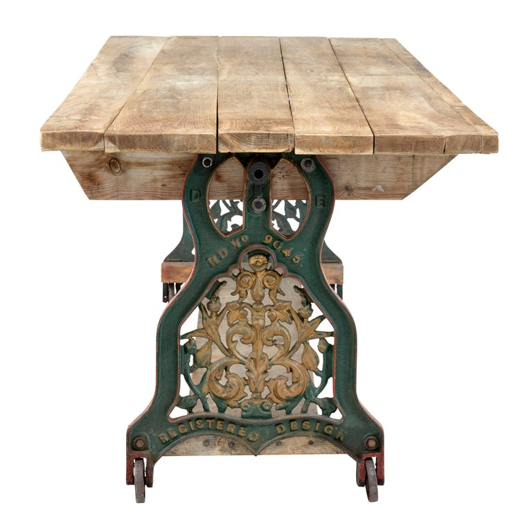 Swedish Early 20th Century Converted Cast Iron Work Table For Sale