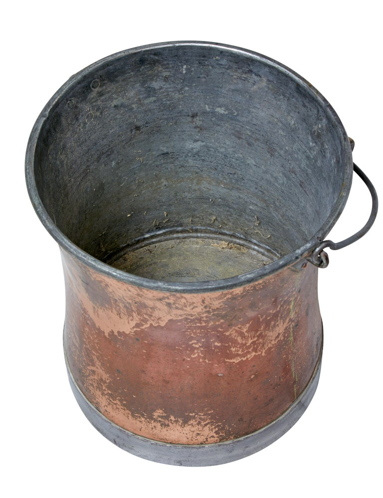 Late Victorian Early 20th Century Copper Pail For Sale