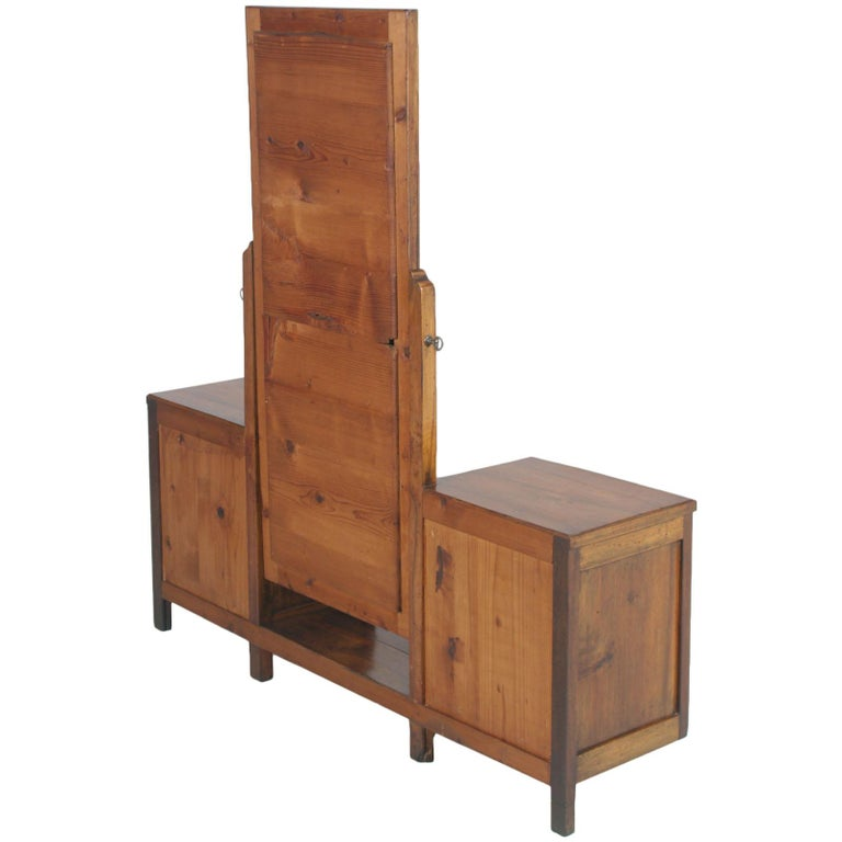 Early 20th Century Country Entry Cabinet, Mirrored Vanity in Solid Blond Walnut For Sale 4