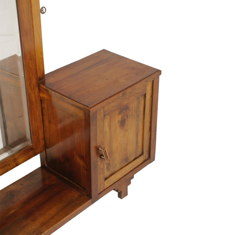 Art Deco Early 20th Century Country Entry Cabinet, Mirrored Vanity in Solid Blond Walnut For Sale