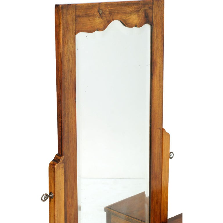 Italian Early 20th Century Country Entry Cabinet, Mirrored Vanity in Solid Blond Walnut For Sale