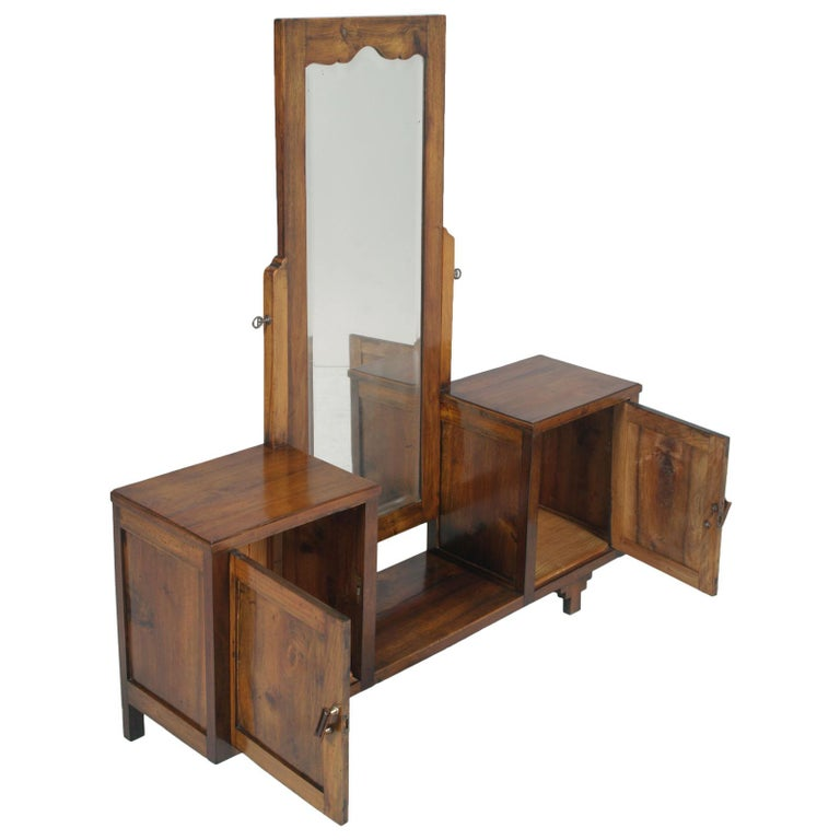 Early 20th Century Country Entry Cabinet, Mirrored Vanity in Solid Blond Walnut For Sale 3
