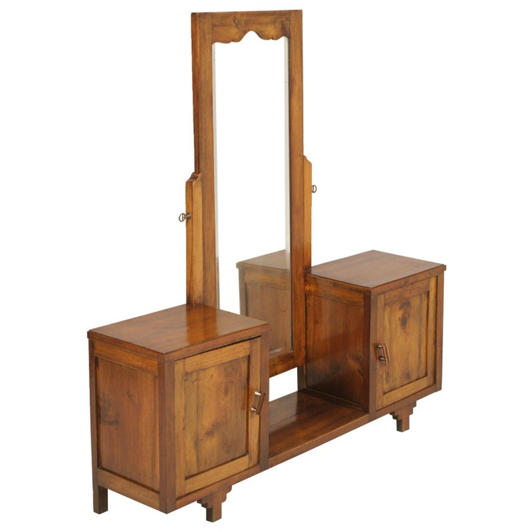 Early 20th Century Country Entry Cabinet, Mirrored Vanity in Solid Blond Walnut For Sale