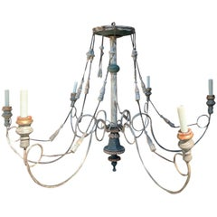 Early 20th Century Custom Painted Wood, Iron, Tole Six-Arm Tassels Chandelier