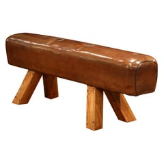 Early 20th Century Czech Pommel Horse Bench with Patinated Brown Leather