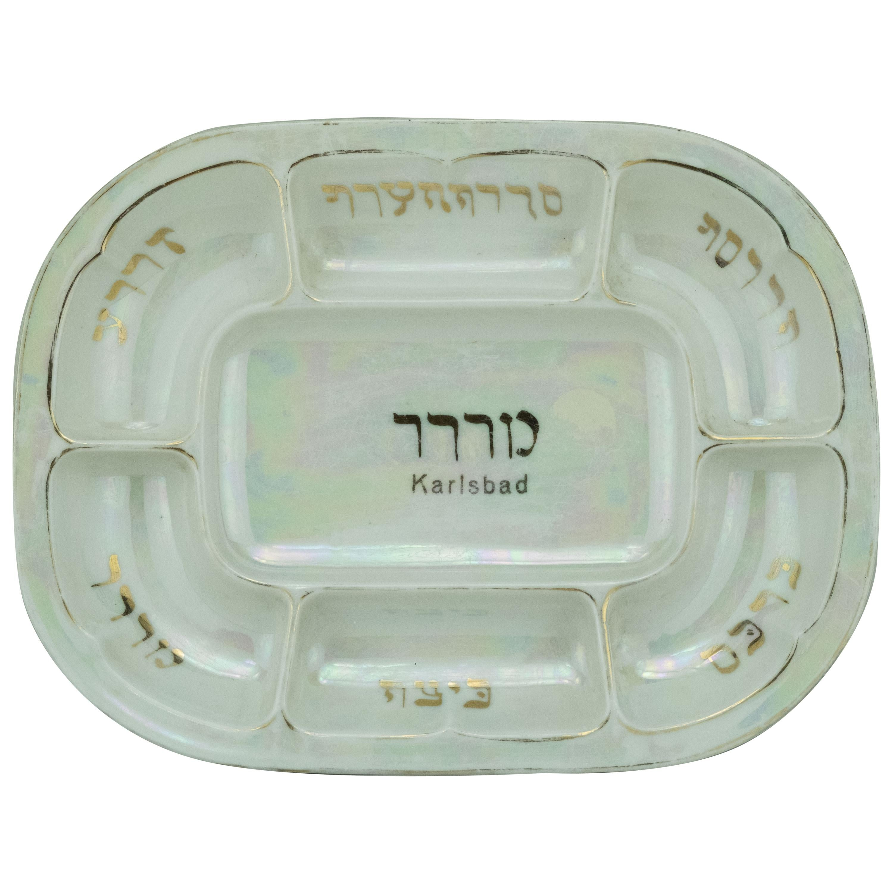 Early 20th Century Czech Porcelain Passover Seder Plate