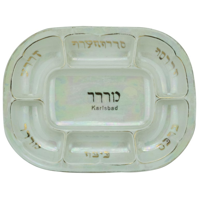 Early 20th Century Czech Porcelain Passover Seder Plate For Sale