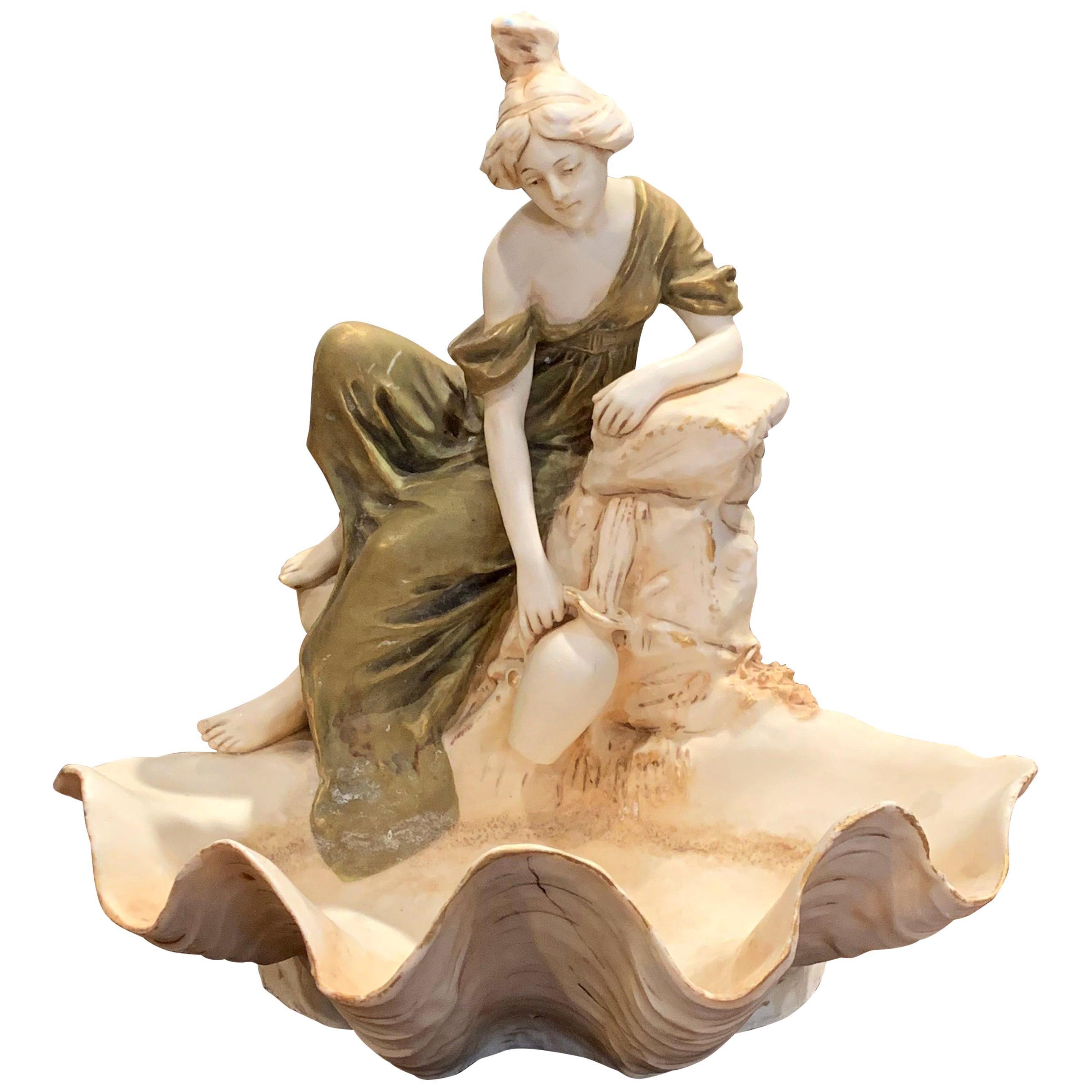 Early 20th Century Czech Royal Dux Bohemian Carved Porcelain Woman Sculpture