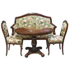 Early 20th Century Danish Parlor Suite with Sofa, Pair of Chairs and Oval Table