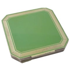 Early 20th Century Deco Green Enamel Sterling Silver Compact