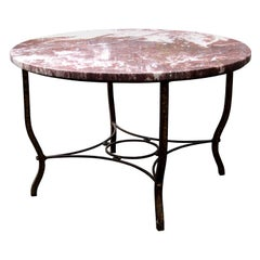 Early 20th Century Deco Round Iron Coffee Table with Red Marble Top