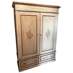 Early 20th Century Decorated Wardrobe Fir Handmade Country Chic Original Tuscan