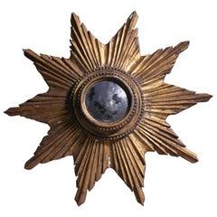 Early 20th Century Decorative European Sun Burst Convex Gilt Mirror