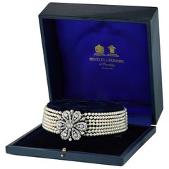 Early 20th Century Diamond and Cultured Pearl Necklace