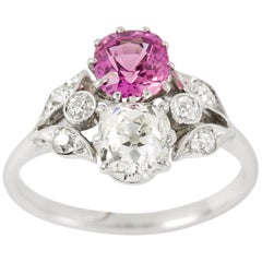 Early 20th Century Diamond and Pink Sapphire Ring