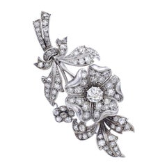 Early 20th Century Diamond Flower En Tremblant Brooch
