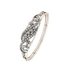 Gold Early 20th Century Diamond Hinged Bangle Bracelet