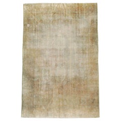 Early 20th Century Distressed Handmade Turkish Gold and Beige Room Size Carpet