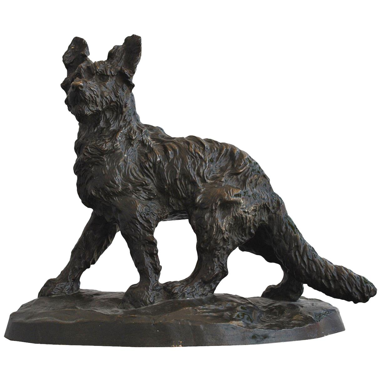 Early 20th Century Dog Bronze Brown Patina Bronze by Thomas François Cartier