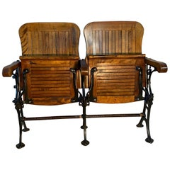 Early 20th Century Double Seat Folding Theater Chairs, circa 1910-1920