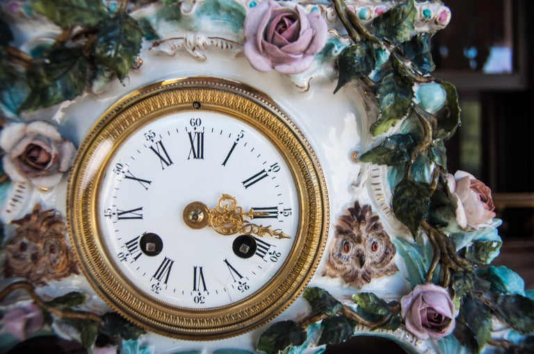 19th Century Early 20th Century Dresden Porcelain Clock For Sale