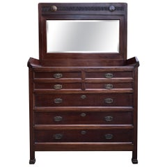 Early 20th Century Dresser Drawer in Mahogany and Chestnut, with Mirror Restored
