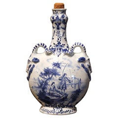 Early 20th Century Dutch Blue and White Painted Faience Delft Olive Oil Jar