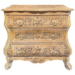 Early 20th Century Dutch Carved and Bleached Oak Commode