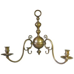 Early 20th Century Dutch Cast Patinated Bronze Twin Branch Wall Sconce