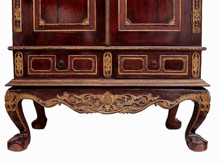 Hand-Carved Early 20th Century Dutch Colonial Cabinet For Sale