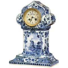 Early 20th Century Dutch Hand Painted Blue and White Faience Delft Mantel Clock