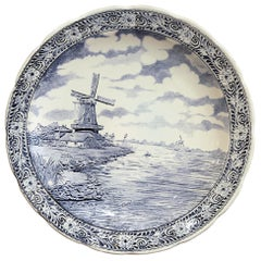 Early 20th Century Dutch Hand Painted Bosh Delft Platter with Pastoral Scene