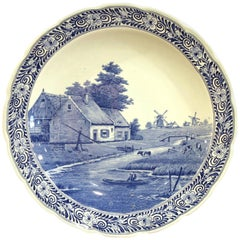 Early 20th Century Dutch Hand Painted Delft Platter with Pastoral Scene