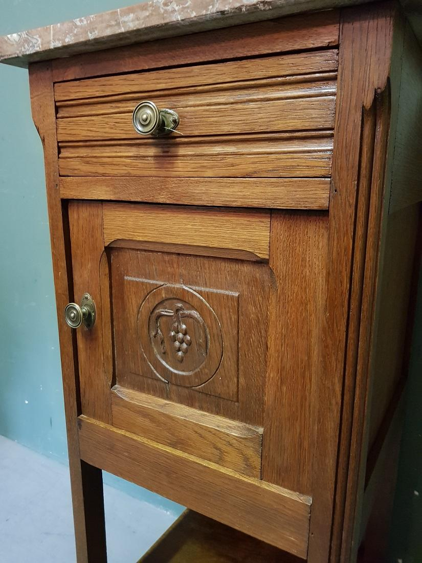 Early 20th Century Dutch Oak Nightstand With Marble Top