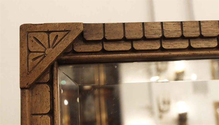 Early 20th Century Eastlake Carved Fruit Wood Cheval Mirror For Sale 1