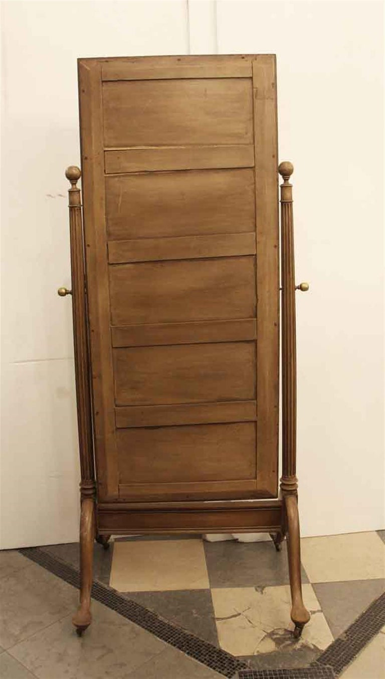 Early 20th Century Eastlake Carved Fruit Wood Cheval Mirror For Sale 6