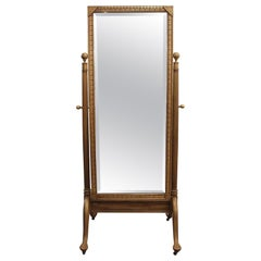 Early 20th Century Eastlake Carved Fruit Wood Cheval Mirror