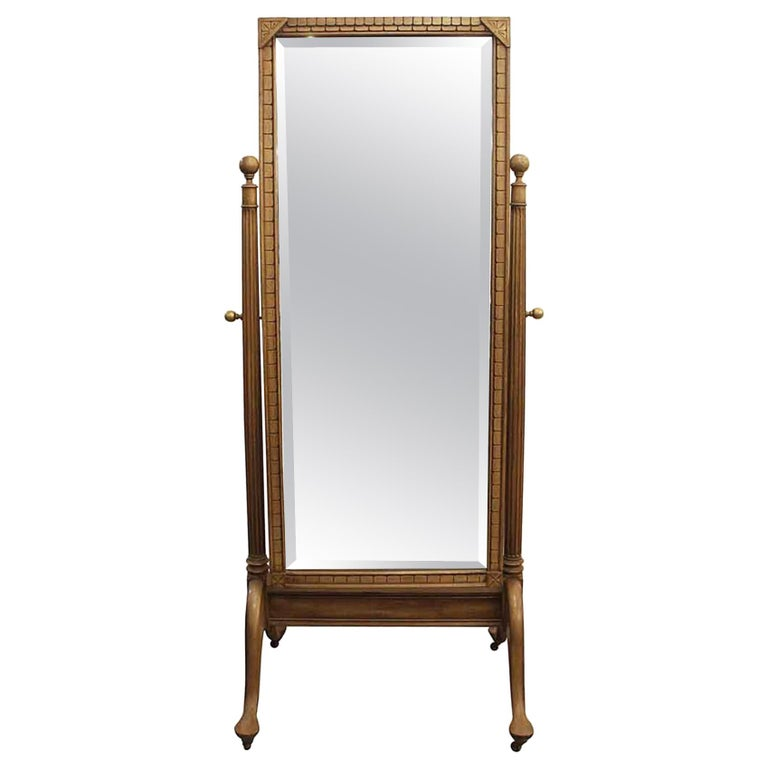 Early 20th Century Eastlake Carved Fruit Wood Cheval Mirror For Sale