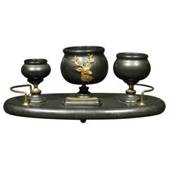 Early 20th Century Ebonized Wooden Desk-Top Smokers Set, Circa 1900