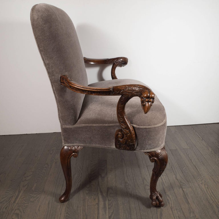 English Early 20th Century Edwardian British Walnut Chair with Carved Hawk Gargoyle Arms For Sale