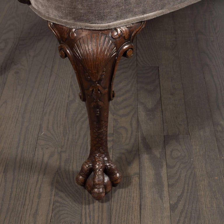 Early 20th Century Edwardian British Walnut Chair with Carved Hawk Gargoyle Arms For Sale 1