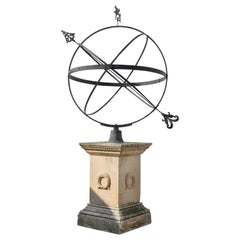 Early 20th Century Edwardian Bronze and Sandstone Garden Armillary