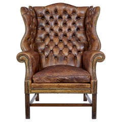Early 20th Century Edwardian Button Back Leather Wing Back Armchair