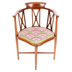 Early 20th Century Edwardian Inlaid Mahogany Corner Armchair