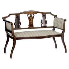 Early 20th Century Edwardian Inlaid Rosewood Salon Sofa