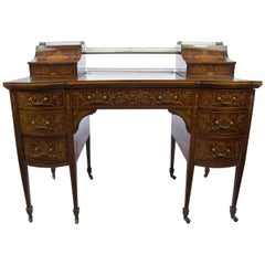 Early 20th Century Edwardian Mahogany Edwards and Roberts Bow-Front Carlton Desk