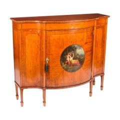 Early 20th Century Edwardian Painted Satinwood Cross-Banded Cabinet Sideboard