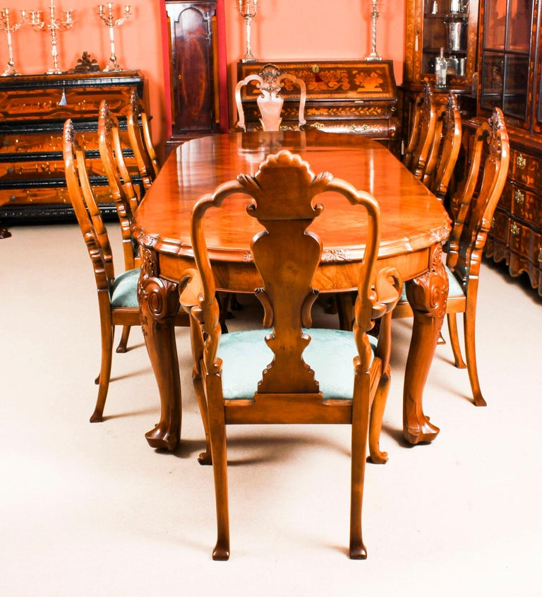 Early 20th Century Edwardian Queen Anne Revival Dining Table and 8 Chairs 2